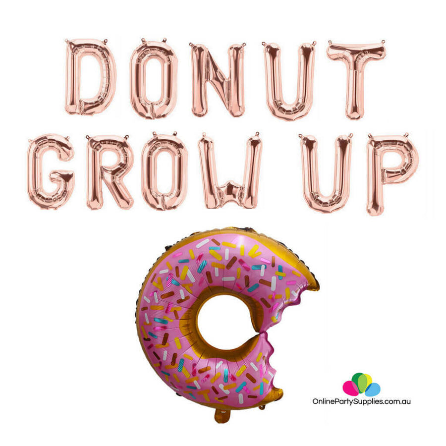 rose gold DONUT GROW UP with sprinkle donut bite foil balloon banner