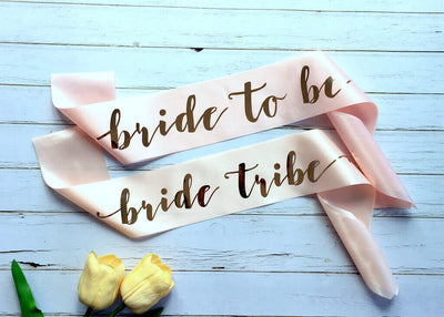 "Online Party Supplies Champagne Pink 'Bride To Be' 'Bride Tribe"" Hen Bachelorette Party Satin Sash - Rose Gold Foil Print"