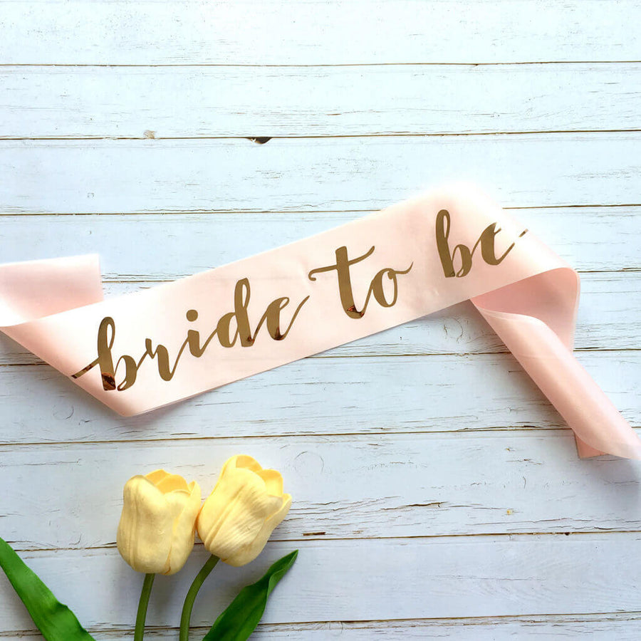 Champagne Pink 'Bride Tribe' Bachelorette Party Satin Sash - Rose Gold Foil Print