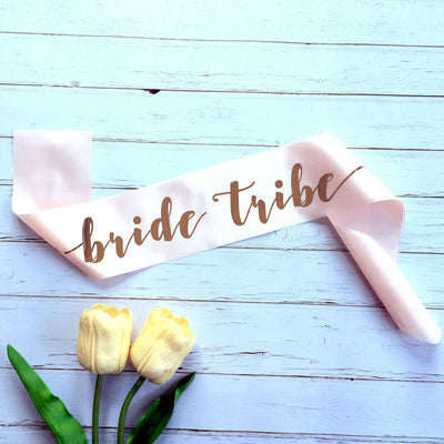 Online Party Supplies Champagne Pink 'Bride Tribe' Hen Party Satin Sash - Rose Gold Foil Print