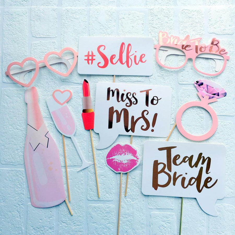 Rose Gold Foil Team Bride Miss to Mrs Bachelorette Party Photo Booth Props