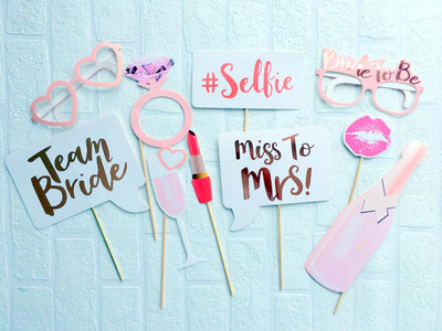 Rose Gold Foil Team Bride Miss to Mrs Bachelorette Party Photo Booth Props - Online Party Supplies