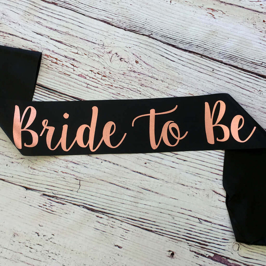 Black Bride To Be Bridal Shower Satin Sash - Rose Gold Print