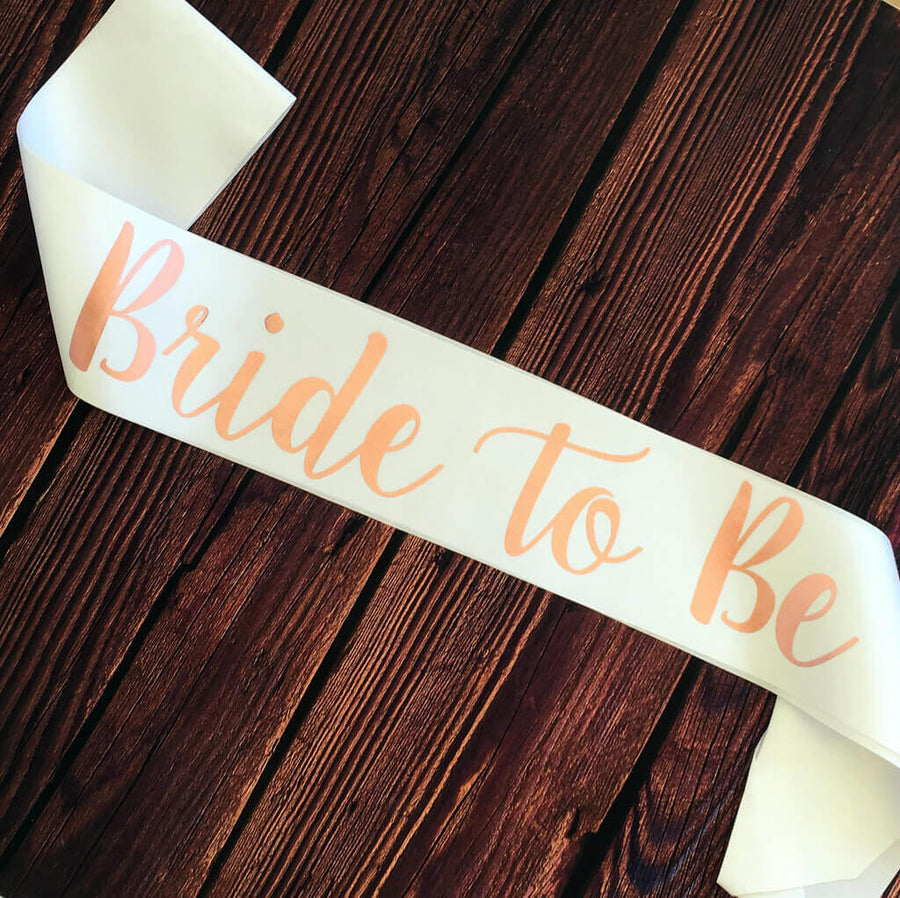 White Bride To Be Bridal Shower Satin Sash - Rose Gold Print