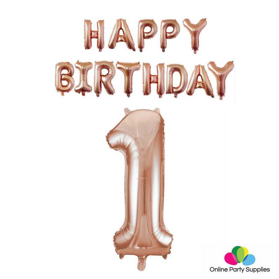 Rose Gold HAPPY BIRTHDAY Foil Balloon Bundle - Number 1 - Online Party Supplies