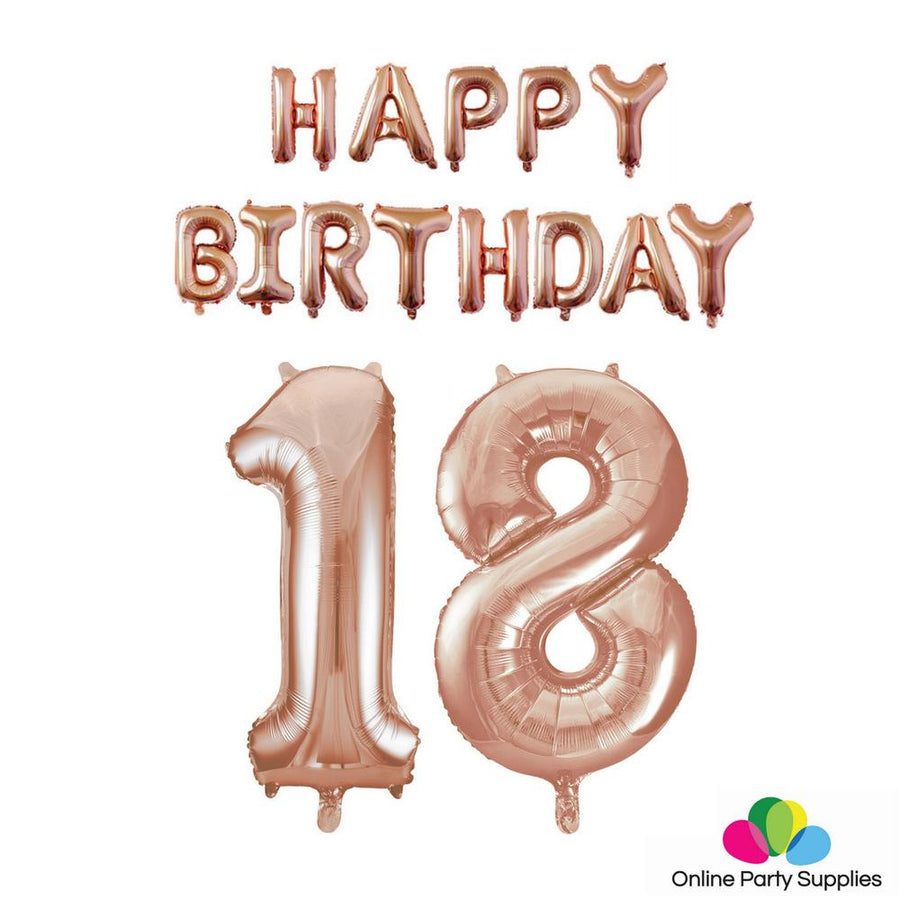 Rose Gold HAPPY BIRTHDAY Foil Balloon Bundle - Number 18 - Online Party Supplies