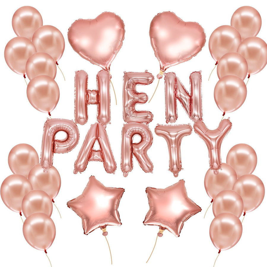Rose Gold HEN PARTY Foil Balloon Bouquet (Pack of 32pcs) - Online Party Supplies