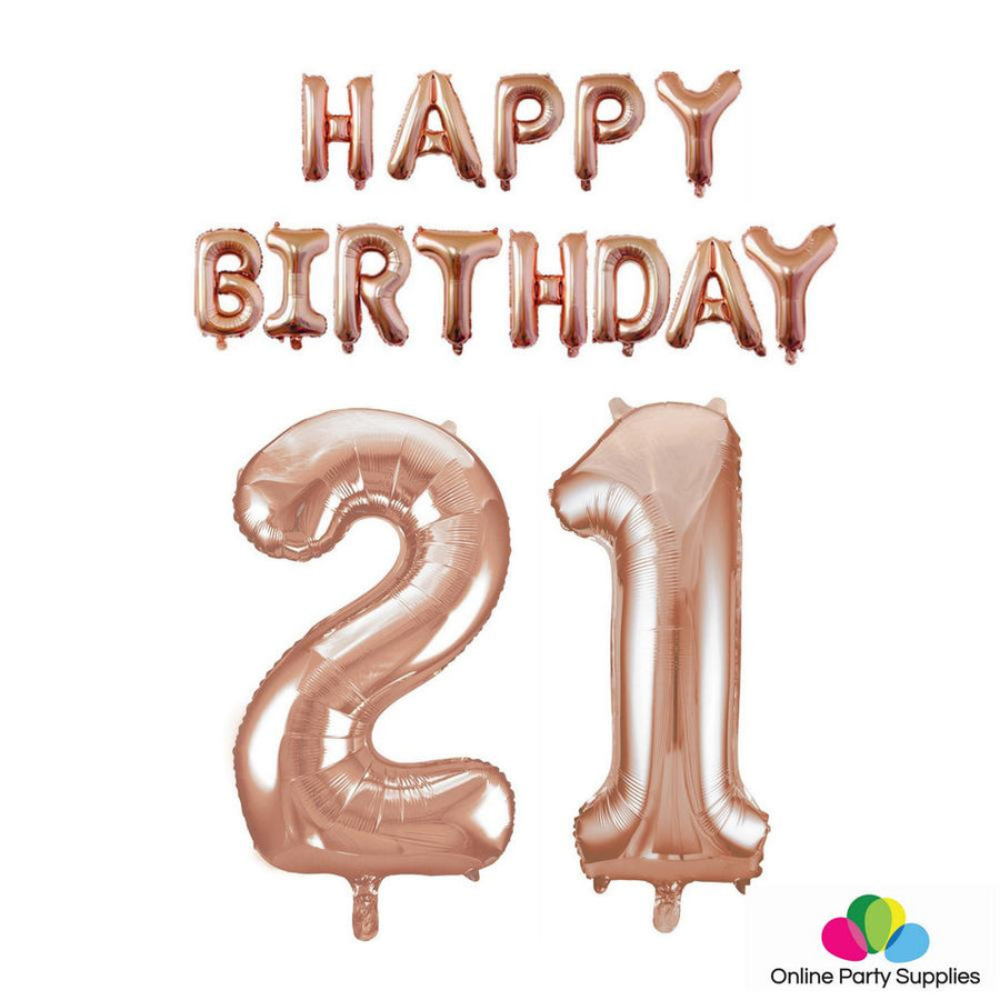 Rose Gold Letters HAPPY BIRTHDAY Foil Balloon Bundle - Number 21 - Online Party Supplies