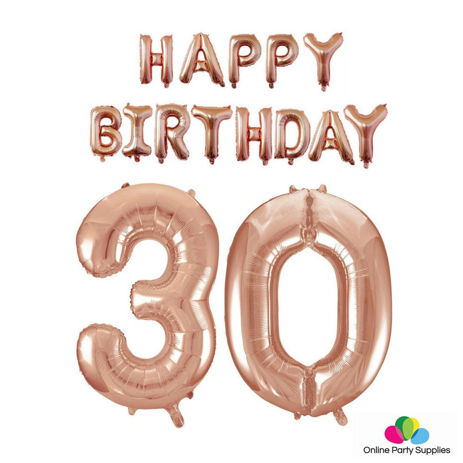 Rose Gold Letters HAPPY BIRTHDAY Foil Balloon Bundle - Number 30 - Online Party Supplies