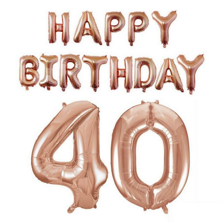 Rose Gold Letters HAPPY BIRTHDAY Foil Balloon Bundle - Number 40 - Online Party Supplies