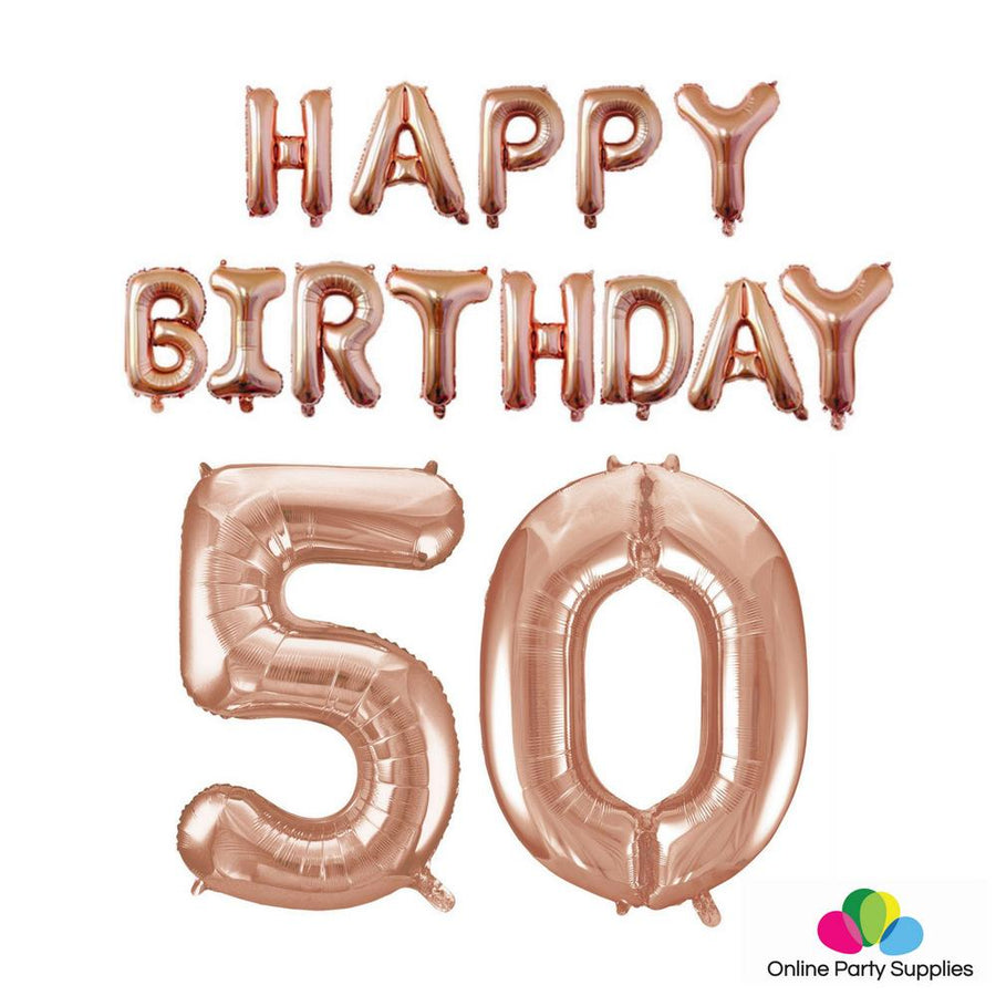 Rose Gold Letters HAPPY BIRTHDAY Foil Balloon Bundle - Number 50 - Online Party Supplies
