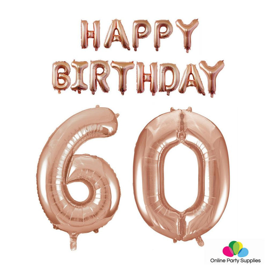 Rose Gold Letters HAPPY BIRTHDAY Foil Balloon Bundle - Number 60 - Online Party Supplies