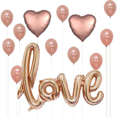 Rose Gold Love Foil Balloon Bouquet (Pack of 13 pcs) - Online Party Supplies