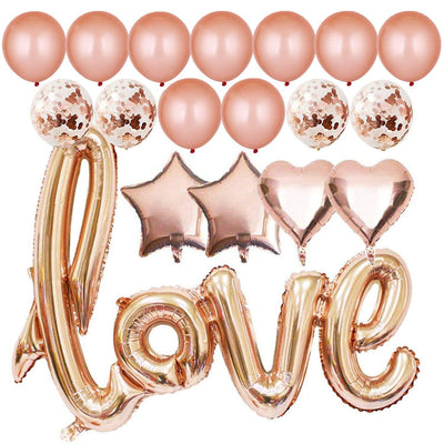 Rose Gold Love Foil Balloon Bouquet (Pack of 18 pcs) - Online Party Supplies