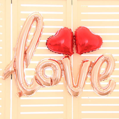 Rose Gold Love Script Foil Balloon Bundle - Online Party Supplies