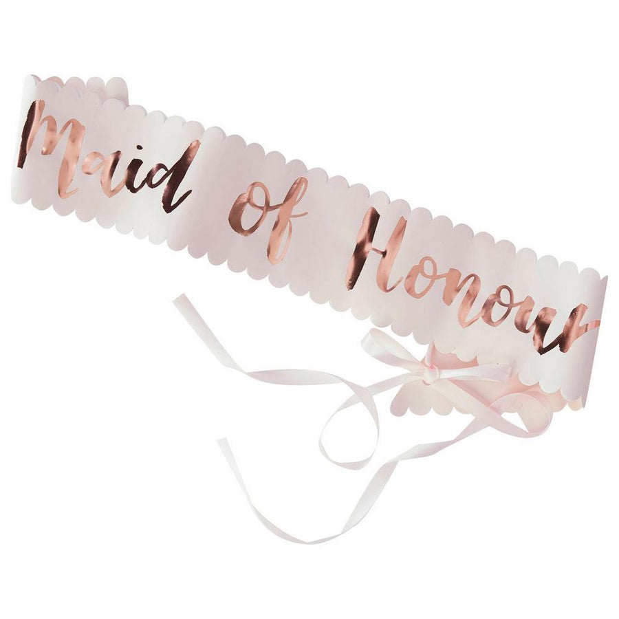 Rose Gold 'Maid Of Honour' Hen Party Satin Sash - Online Party Supplies