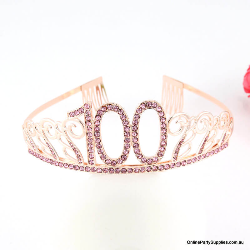 Rose Gold Metal Rhinestone Happy 100th Birthday Tiara
