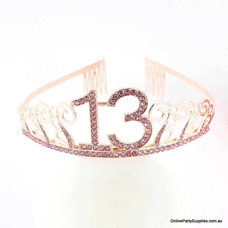 Rose Gold Metal Rhinestone Happy 13th Birthday Tiara