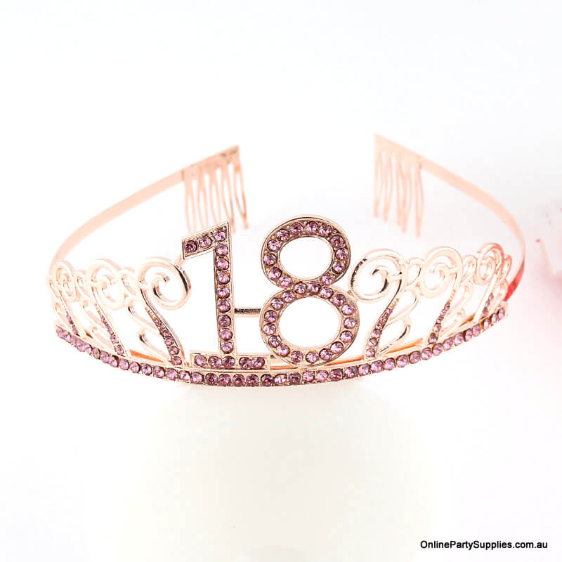 Rose Gold Metal Rhinestone Happy 18th Birthday Tiara