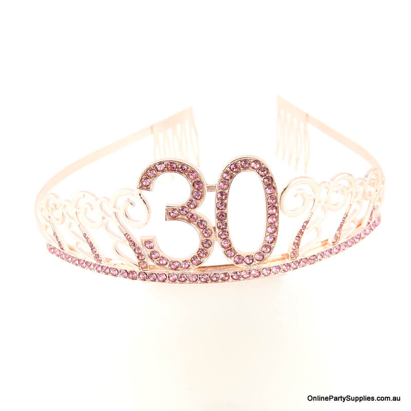 Rose Gold Metal Rhinestone Happy 30th Birthday Tiara