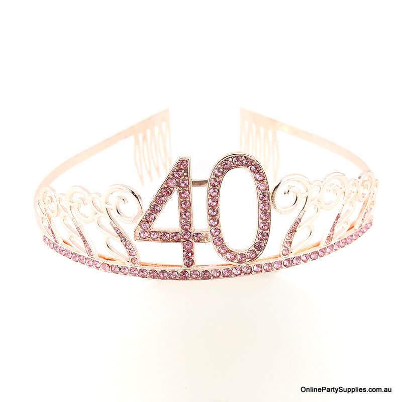 Rose Gold Metal Rhinestone Happy 40th Birthday Tiara