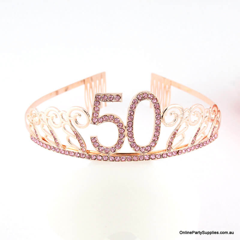Rose Gold Metal Rhinestone Happy 50th Birthday Tiara