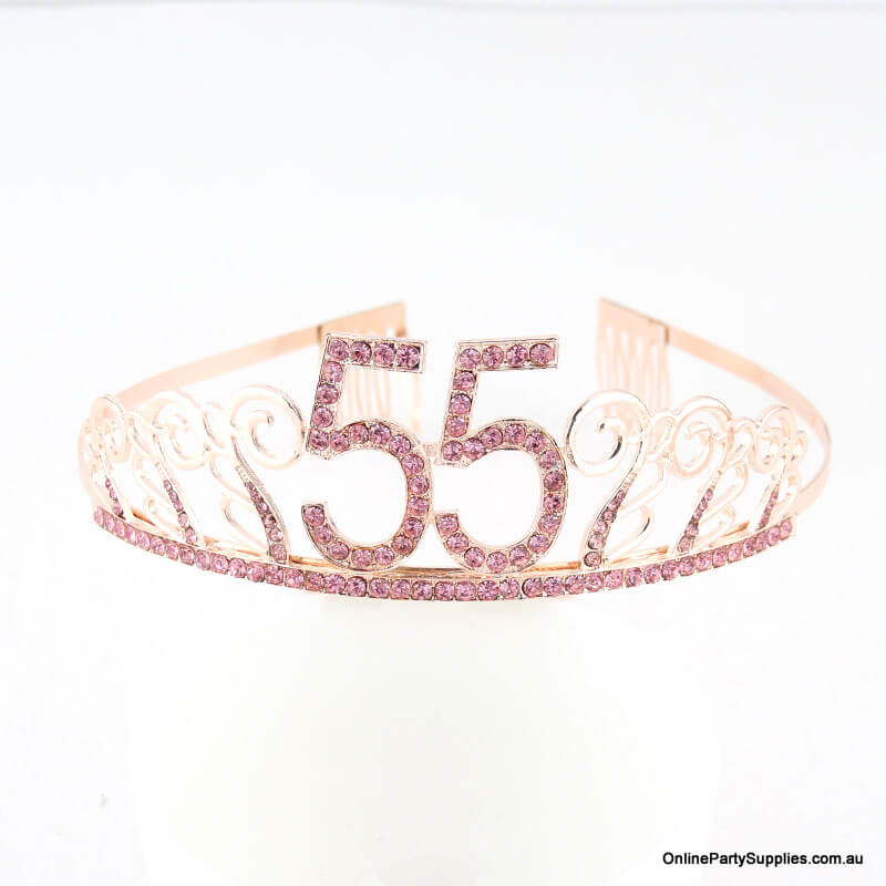 Rose Gold Metal Rhinestone Happy 55th Birthday Tiara