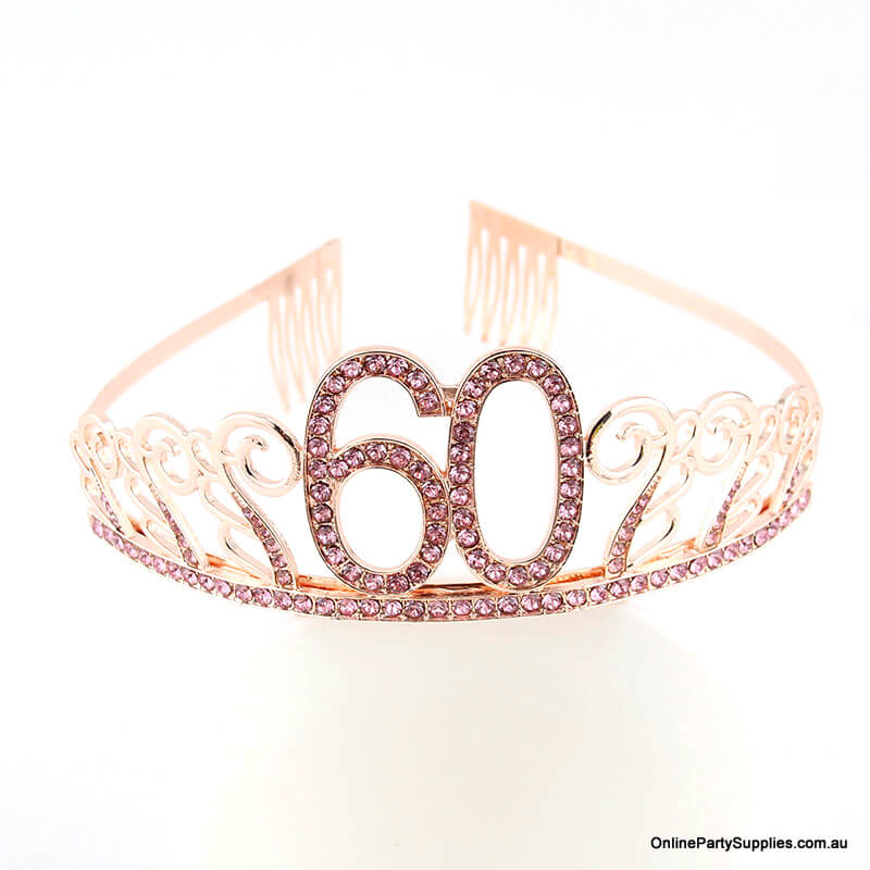 Rose Gold Metal Rhinestone Happy 60th Birthday Tiara