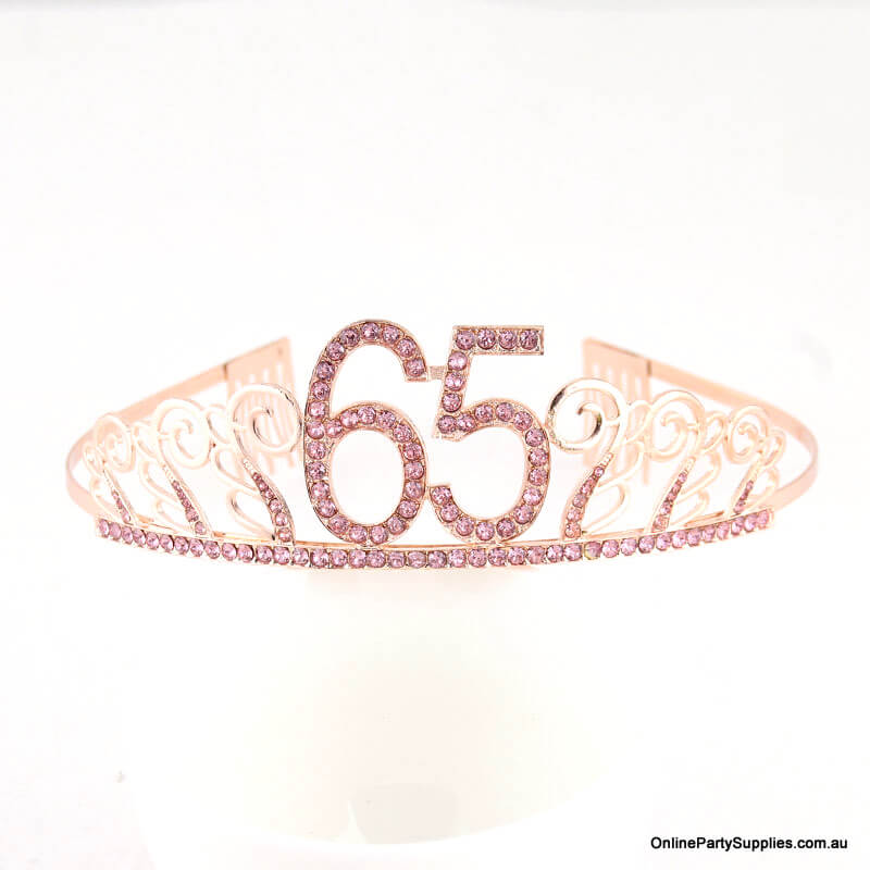Rose Gold Metal Rhinestone Happy 65th Birthday Tiara