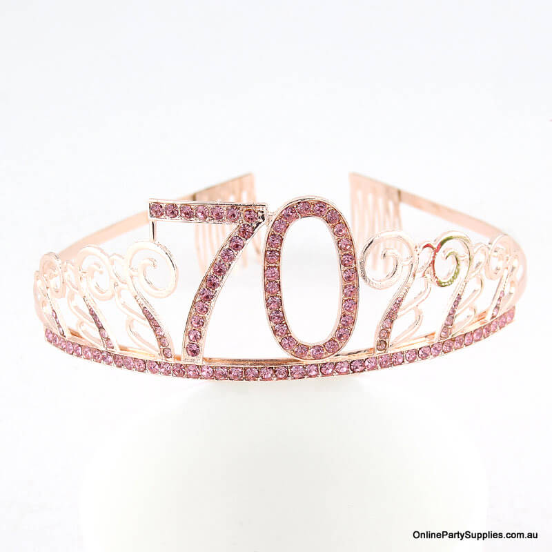 Rose Gold Metal Rhinestone Happy 70th Birthday Tiara