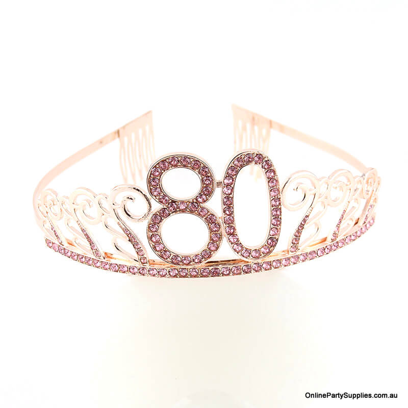 Rose Gold Metal Rhinestone Happy 80th Birthday Tiara