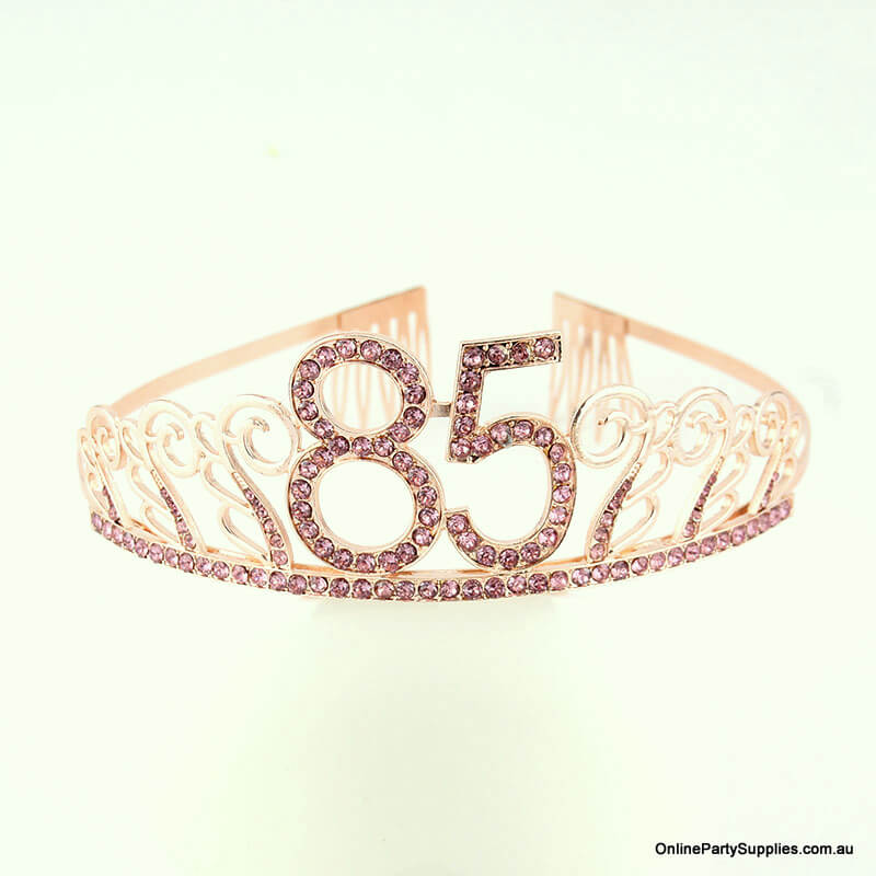 Rose Gold Metal Rhinestone Happy 85th Birthday Tiara