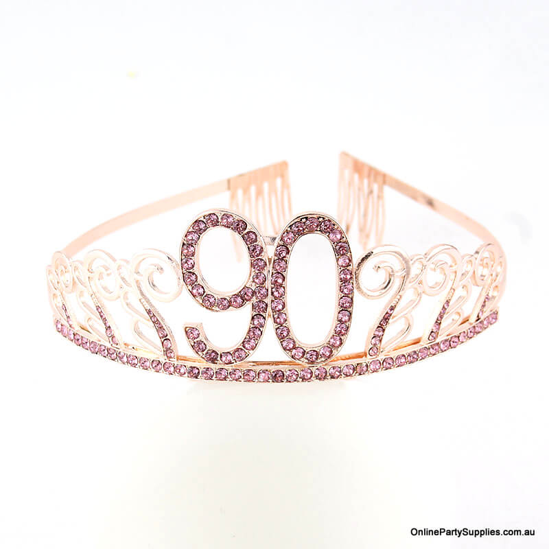 Rose Gold Metal Rhinestone Happy 90th Birthday Tiara