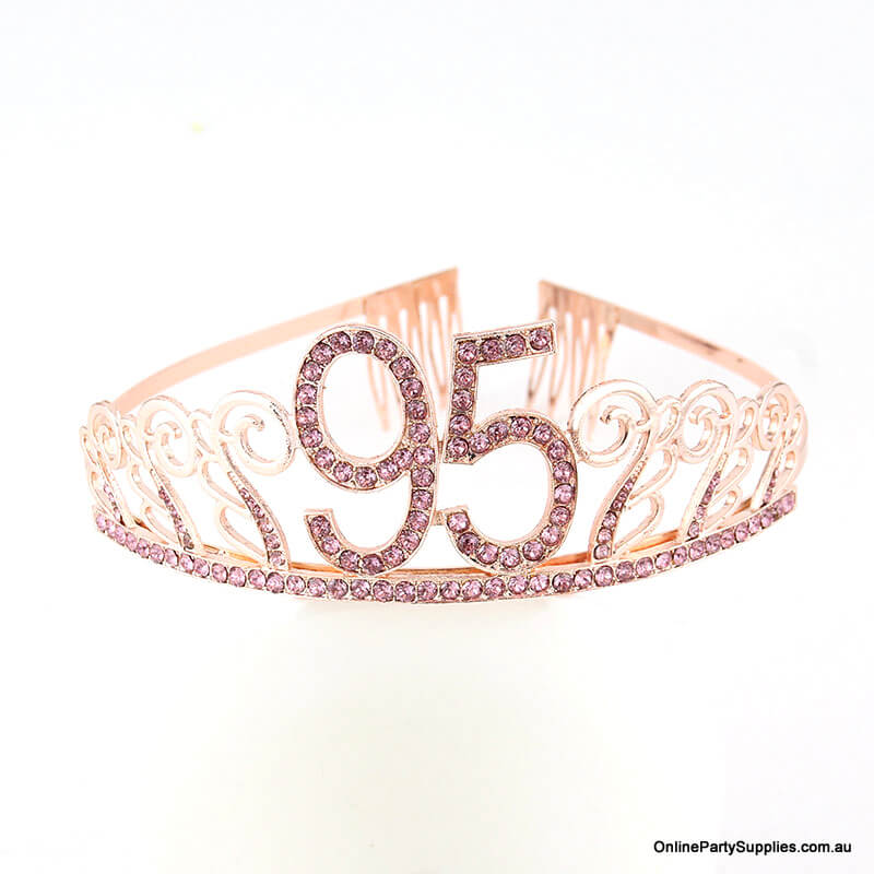 Rose Gold Metal Rhinestone Happy 95th Birthday Tiara