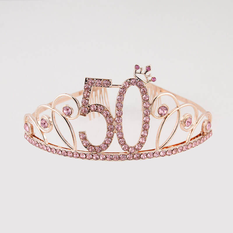 Premium Quality Rose Gold Metal Rhinestone 50th Birthday Princess Crown Tiara