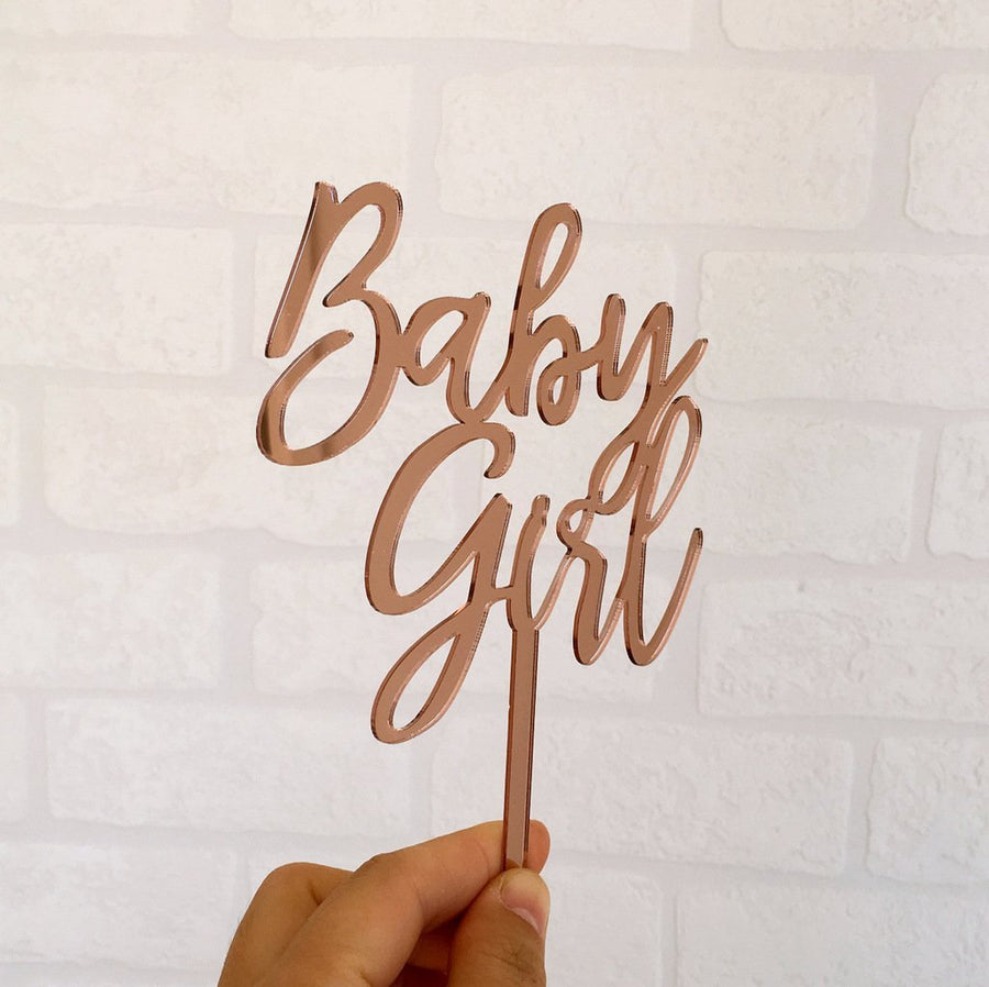 Rose Gold Mirror Acrylic Baby Girl Cake Topper