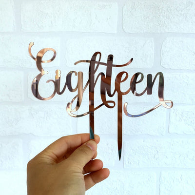 Rose Gold Mirror Acrylic 'Eighteen' Cake Topper - Online Party Supplies