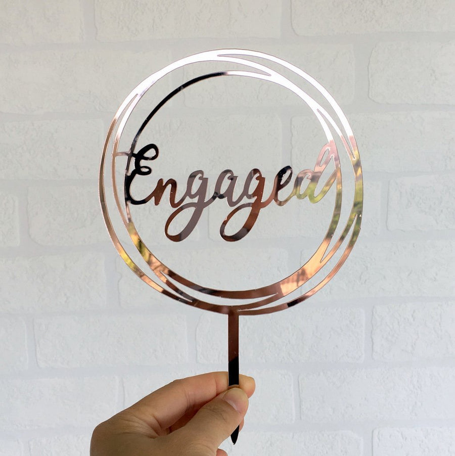 Rose Gold Mirror Acrylic 'Engaged' Geometric Round Cake Topper