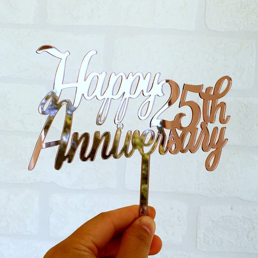 Rose Gold Mirror Acrylic 'Happy 25th Anniversary' Cake Topper - Online Party Supplies