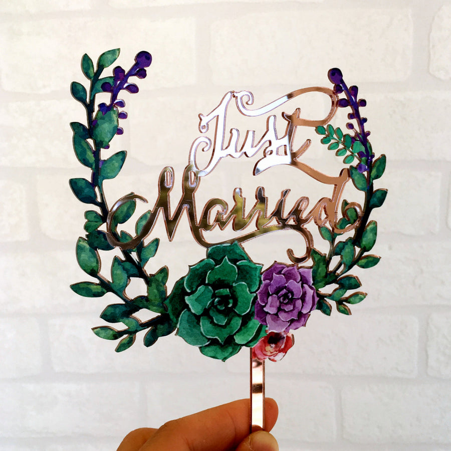 Acrylic 'Just Married' Floral Wreath Cake Topper - Rose Gold Mirror