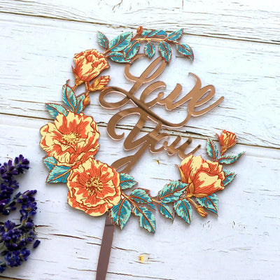 Rose Gold Mirror Acrylic 'Love You' Floral Wreath Cake Topper for summer theme wedding cake decorations