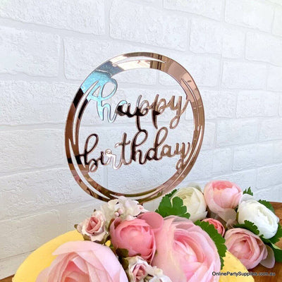 Acrylic Rose Gold Mirror Geometric Round Happy Birthday Cake Topper - Online Party Supplies