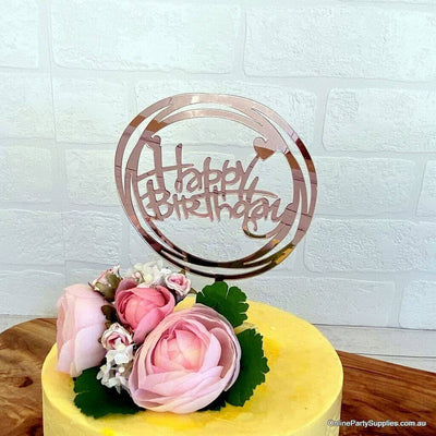 Acrylic Rose Gold Mirror Geometric Circles Happy Birthday Script Heart Cake Topper