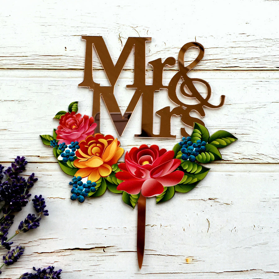 Rose Gold Mirror Mr and Mrs Floral Wreath Wedding Cake Topper