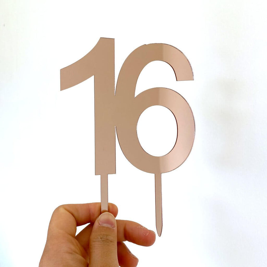 Acrylic Rose Gold Mirror Number 16 Cake Topper