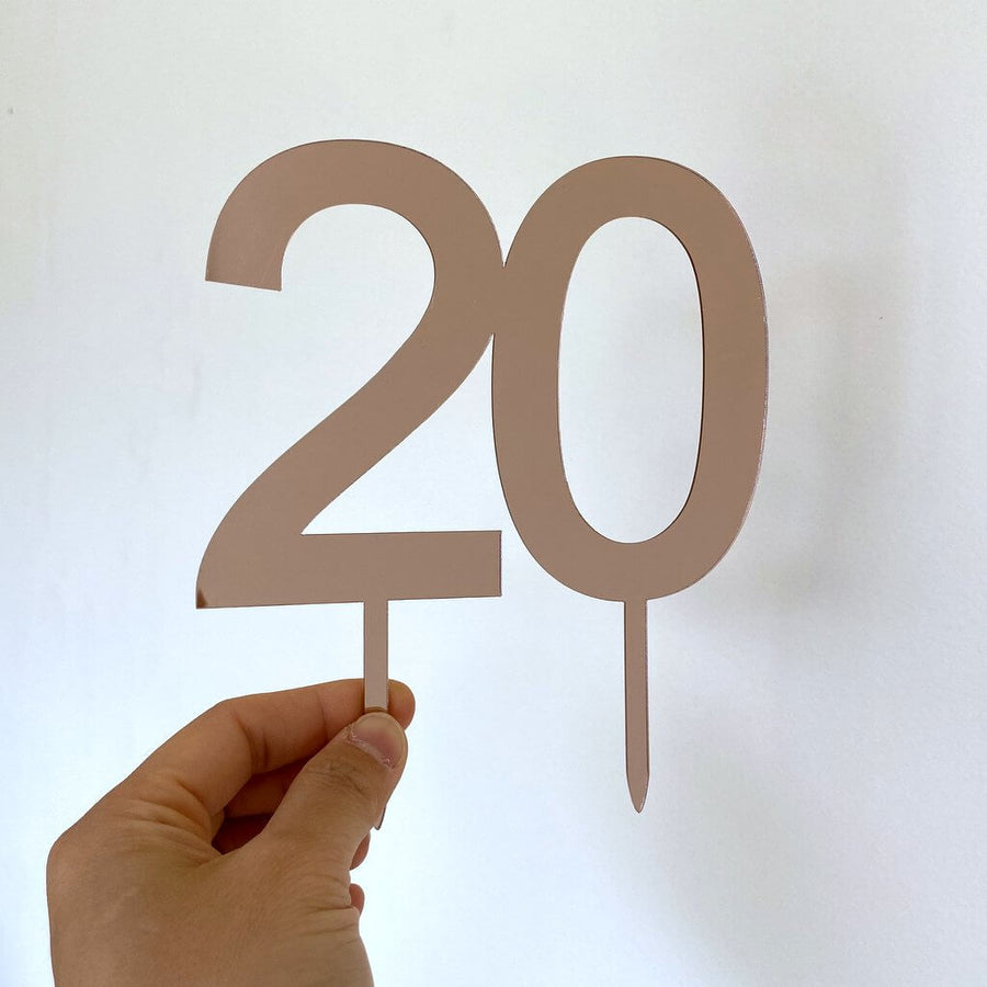 Acrylic Rose Gold Mirror Number 20 Cake Topper