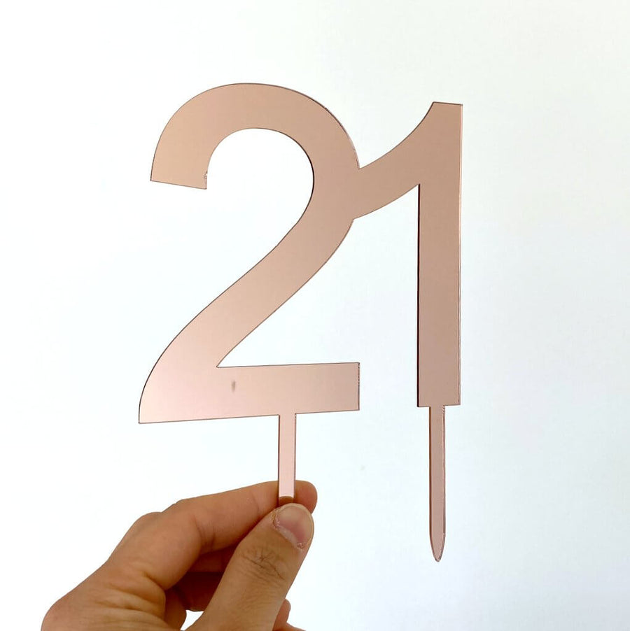 Acrylic Rose Gold Mirror Number 21 Cake Topper
