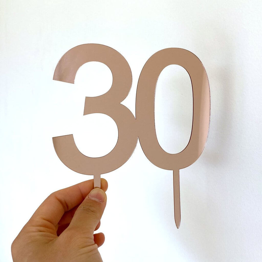 Acrylic Rose Gold Mirror Number 30 Cake Topper