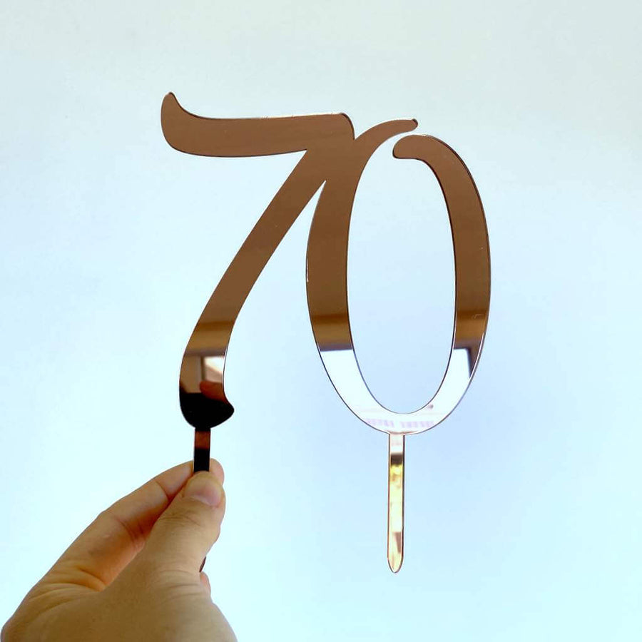 Acrylic Rose Gold Mirror Number 70 Birthday Cake Topper