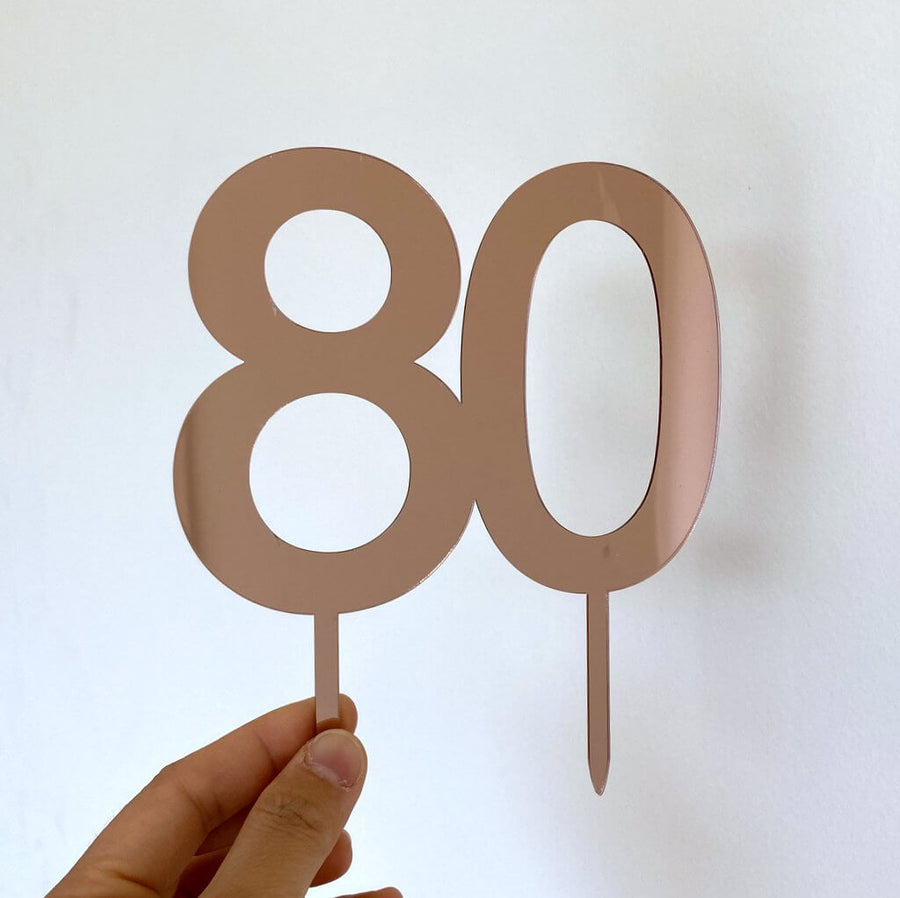 Acrylic Rose Gold Mirror Number 80 Cake Topper